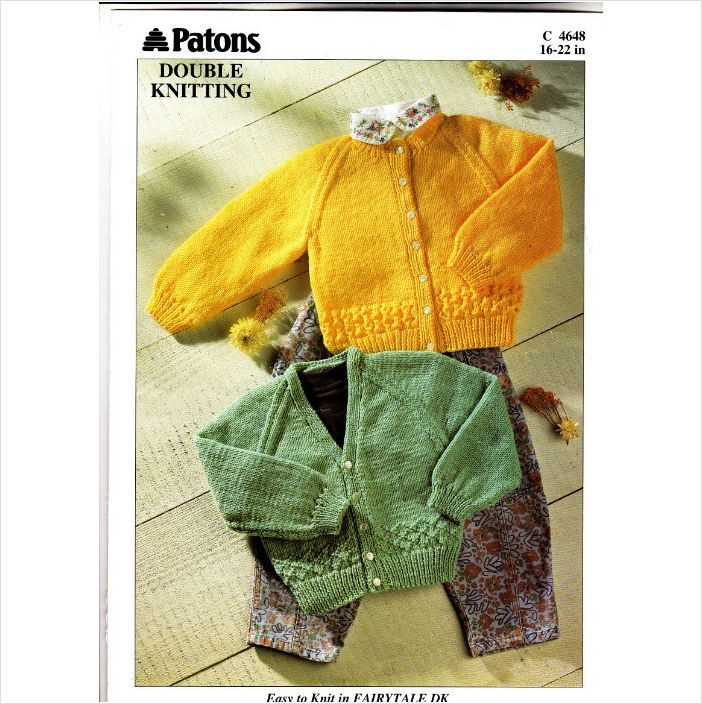 4648 Patons Knitting Pattern Baby Cardigans Dk 16 22 51 56cm