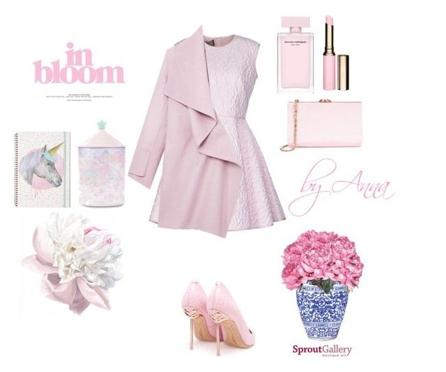 """#pinkpinkpink"" by aneta025 ❤ liked on Polyvore featuring Giambattista Valli, Sophia Webster, Vince, Ted Baker and Clarins"