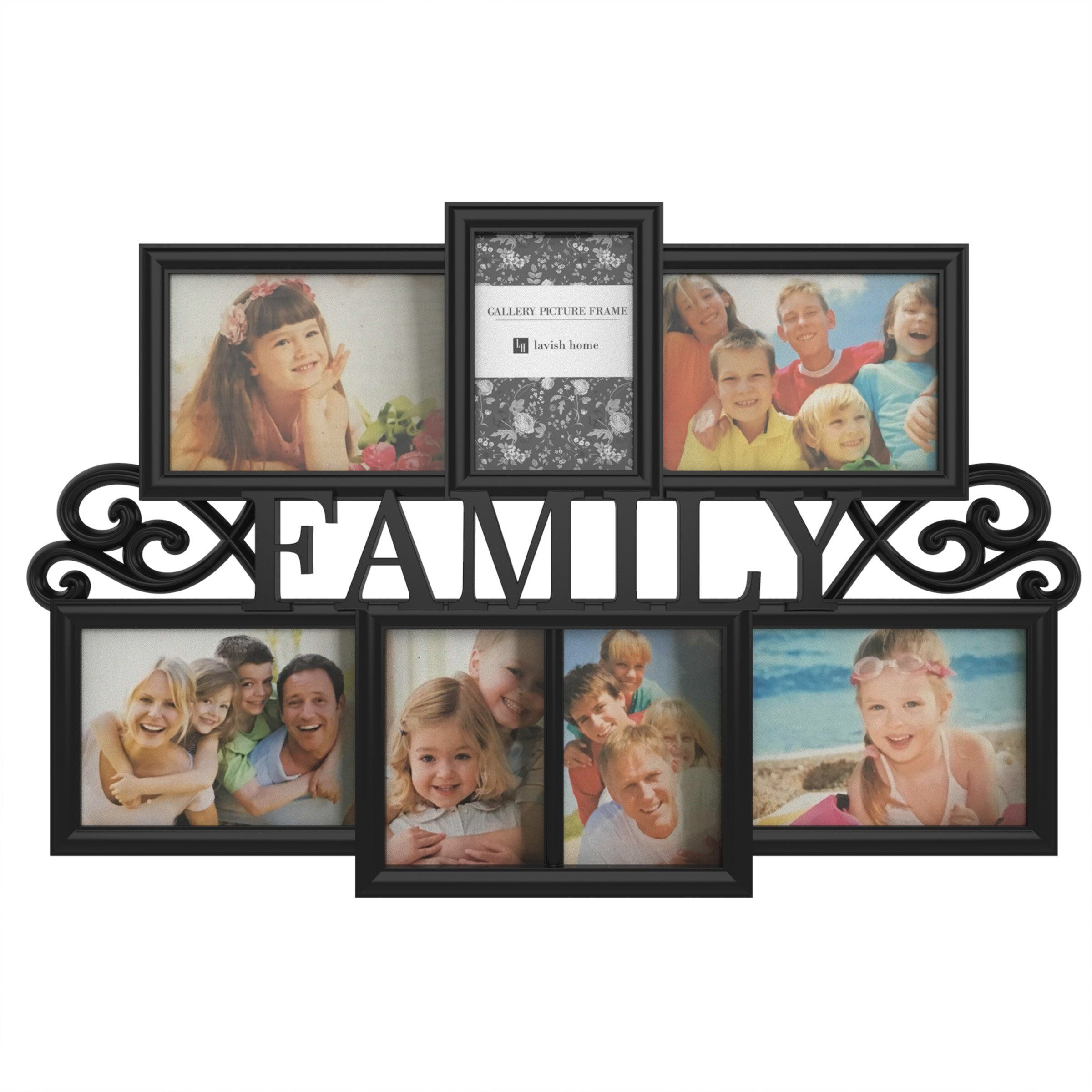 Family Collage Picture Frame With 7 Openings For Three 4x6 And Four 5x In 2021 Family Picture Collages Family Collage Collage Picture Frames 4 opening picture frame 4x6