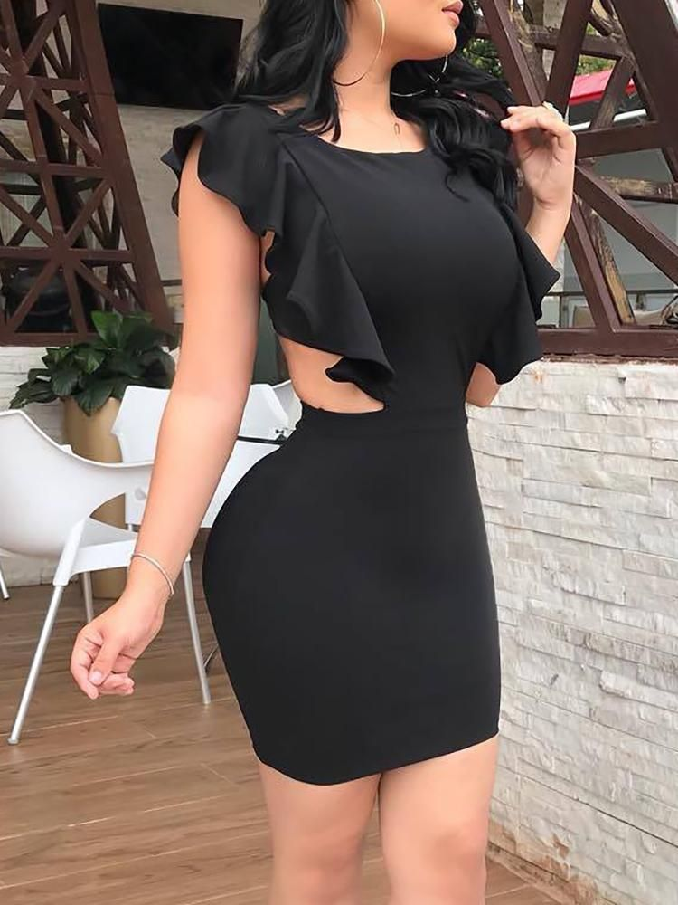 ca7c3c43ed Solid Cutout Back Ruffles Bodycon Dress Maxi dress with slit Miracle watts  Mini club dresses Cocktail dress Mesh bodycon dress Pleated mini dress  Solid Off ...