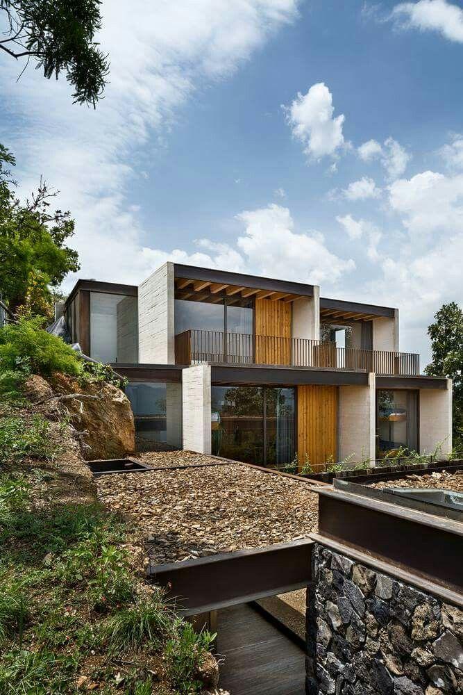 Maisons Extérieures, Maison Moderne, Idées Pour La Maison, Maisons En Béton,  Piscine