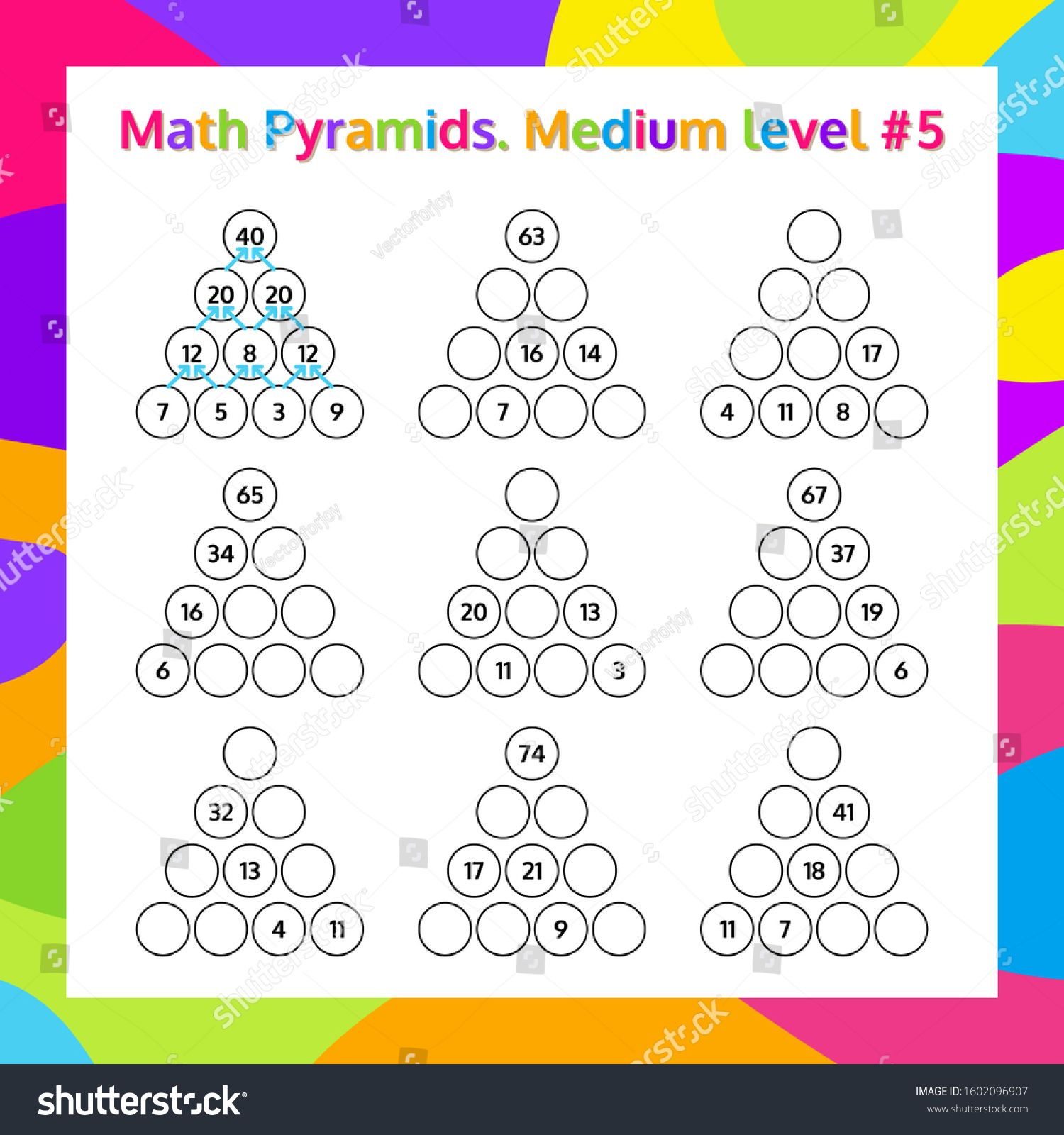 Math Pyramid Educational Game Worksheet Mathematics