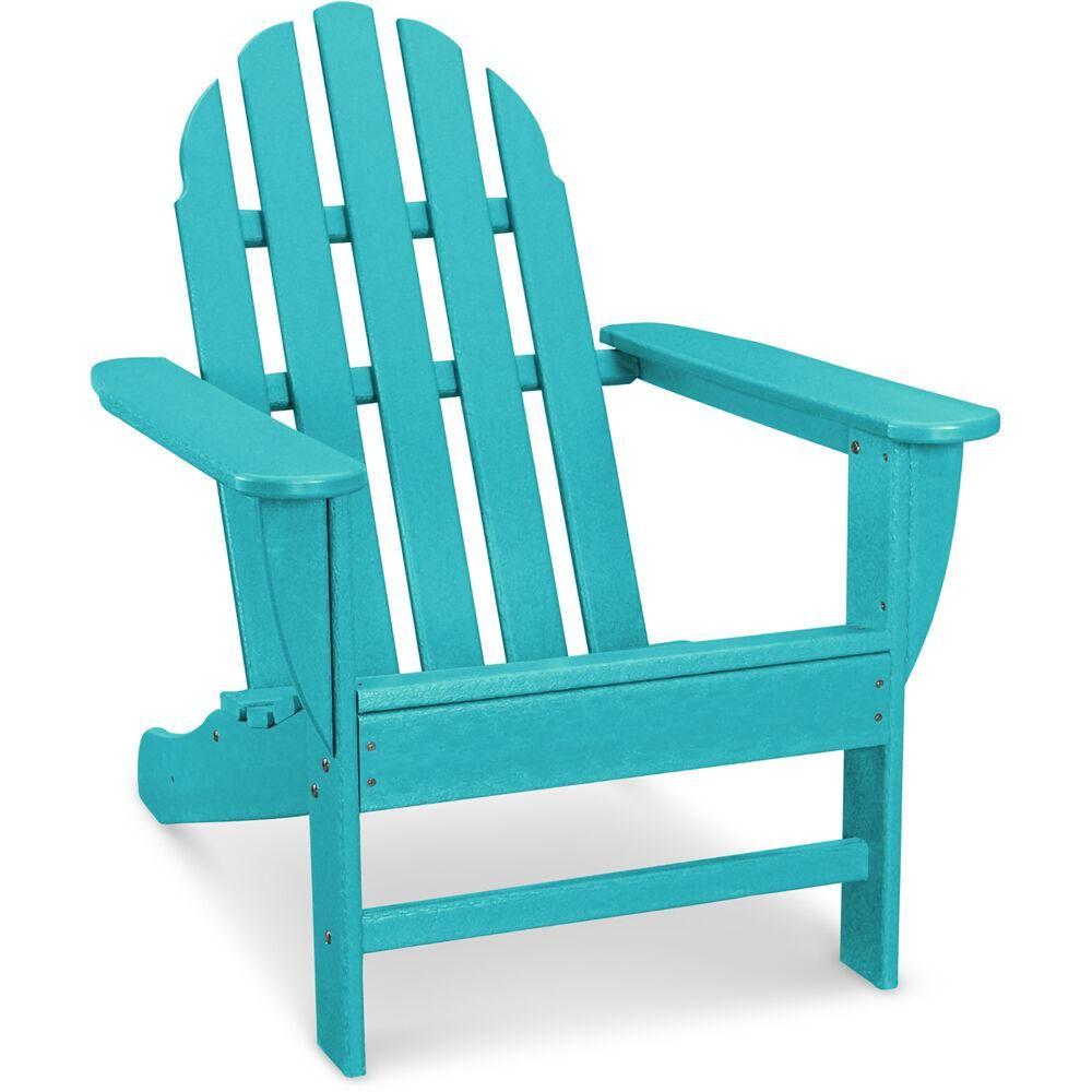 Hanover Classic All Weather Plastic Adirondack Chair In Aruba Blue
