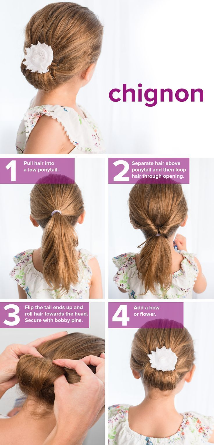 5 Easy Back To School Hairstyles For Girls Chignon Hair Flower