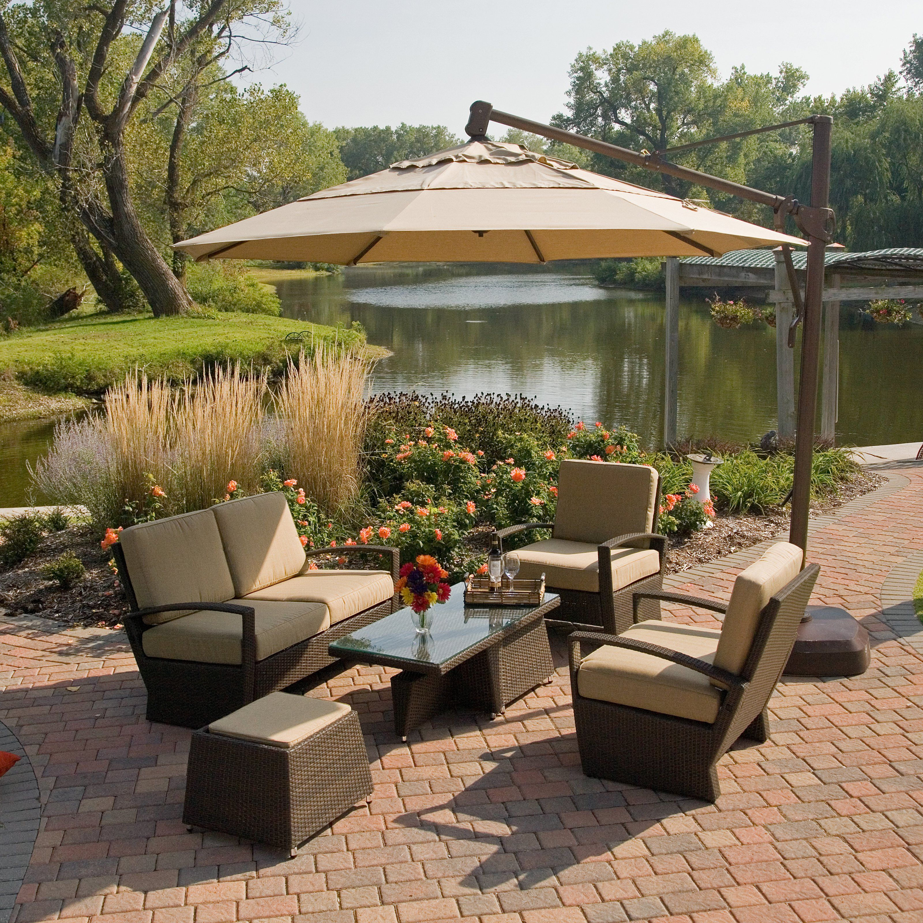 Treasure Garden Sunbrella Rotating Offset Umbrella With Tilt And Base    With Its Sleek Bronze Finish And Handy Offset Design, The Coral Coast 13 Ft.