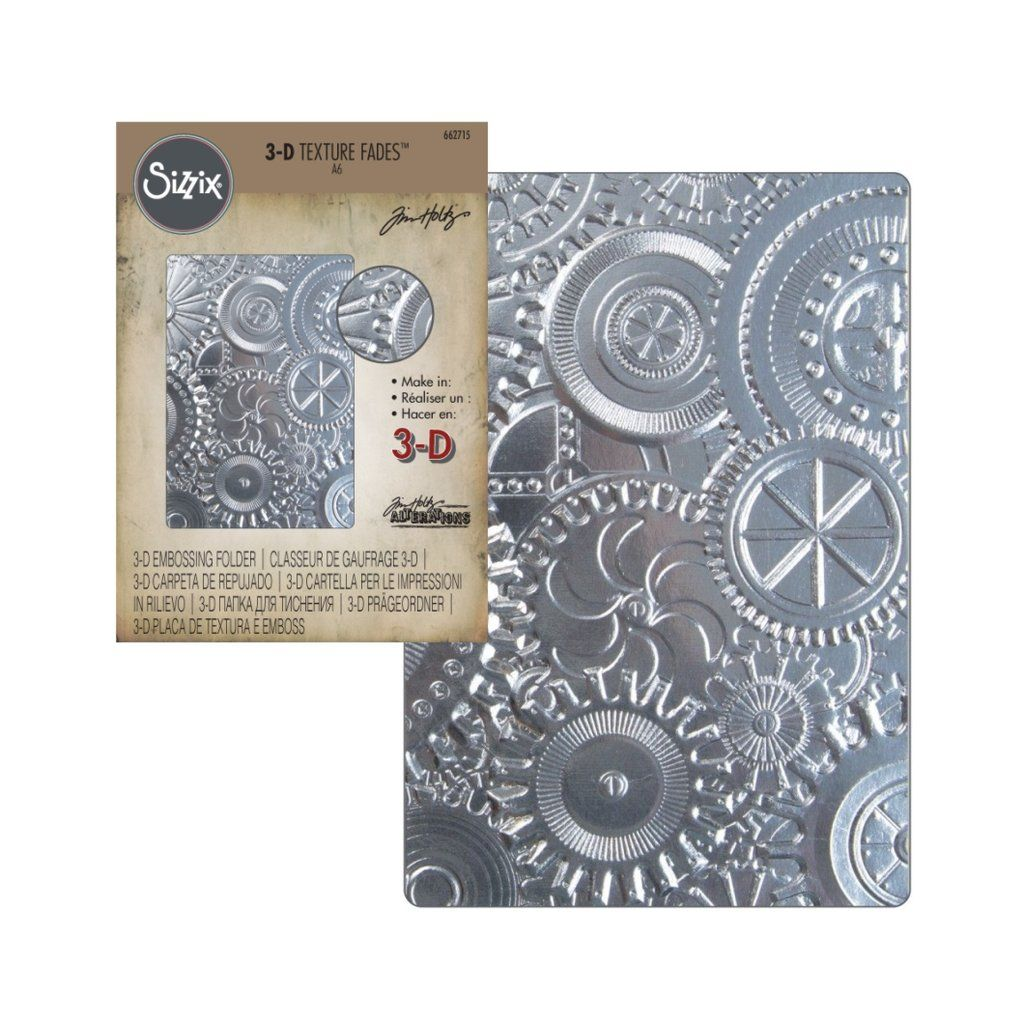 Tim Holtz 3-D Texture Fades ~ MECHANICS ~ Sizzix Embossing Folder ~ 662715