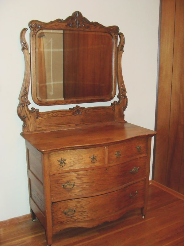 1908 Beautiful Antique Oak Dresser Beveled Mirror Best
