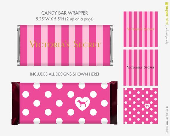 Victoria S Secret Vs Pink Dog Candy Bar Wrapper Labels Instant Download Printable Pink Party Theme Pink Birthday Party Pink Parties