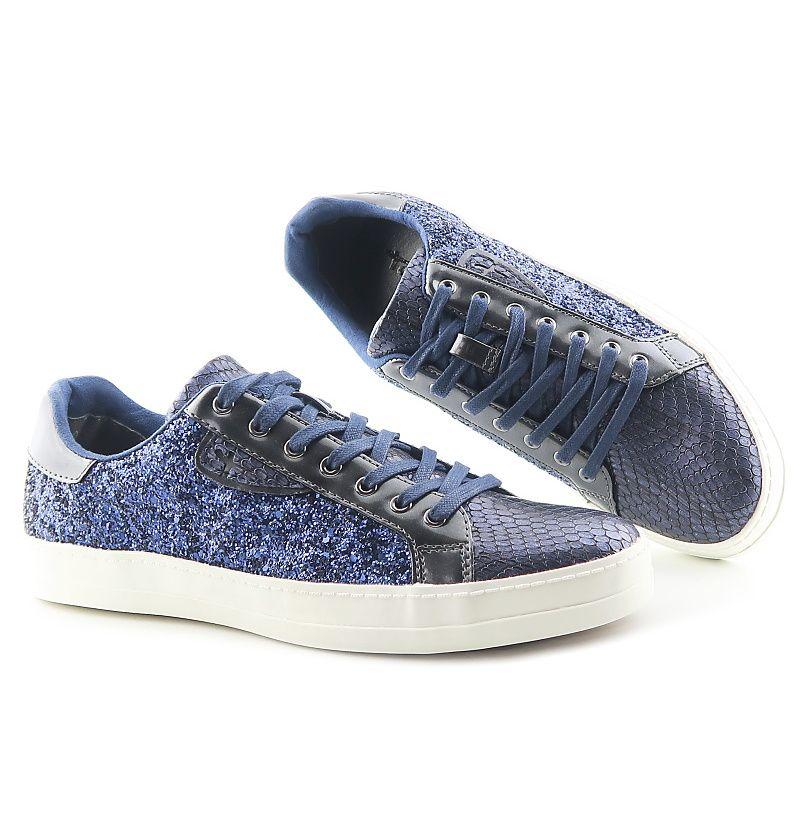 Trendové modré topánky na šnurovanie TAMARIS  7d0d65b9be5