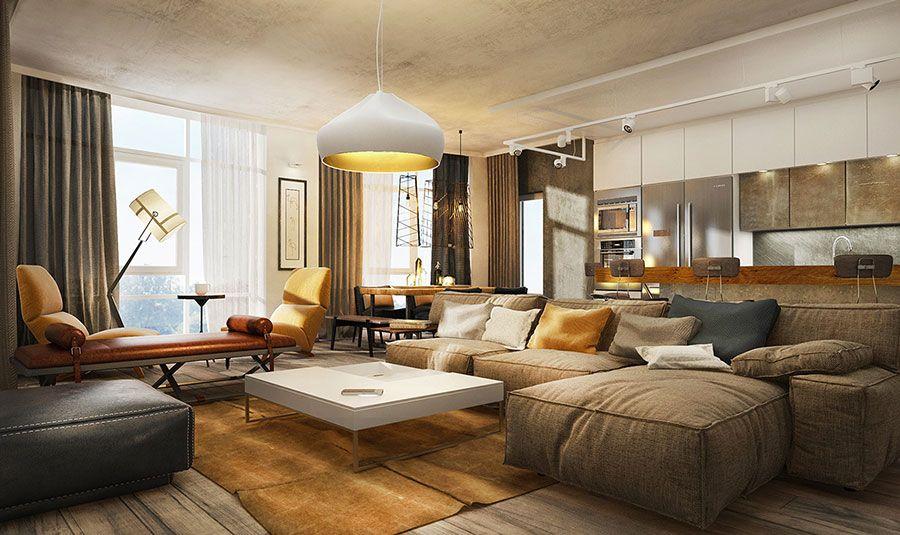 Soggiorno Rustico ~ Arredare un open space cucina soggiorno rustico 06 interior