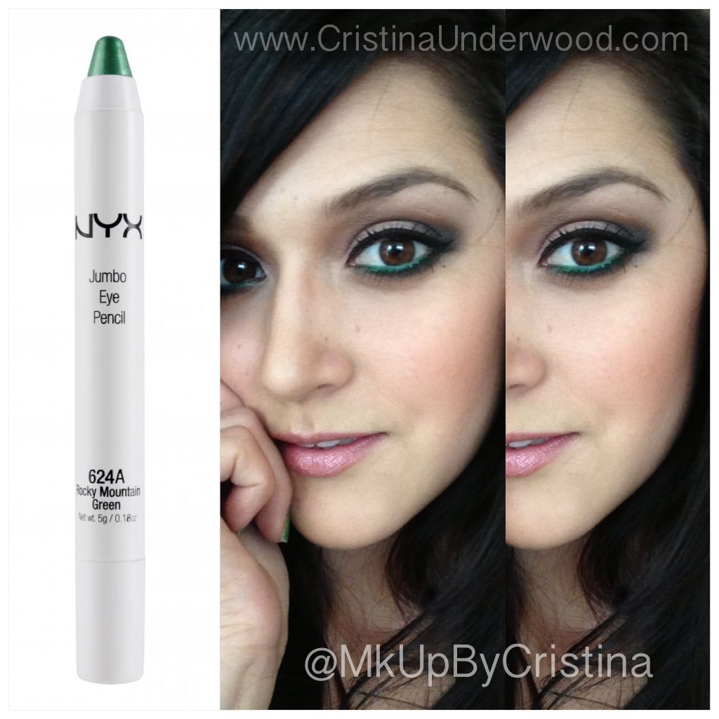 My new obsession!! The NYX jumbo eye pencil in 'Rocky Mountain Green'. It's so pigmented and super creamy. www.cristinaunderwood.com