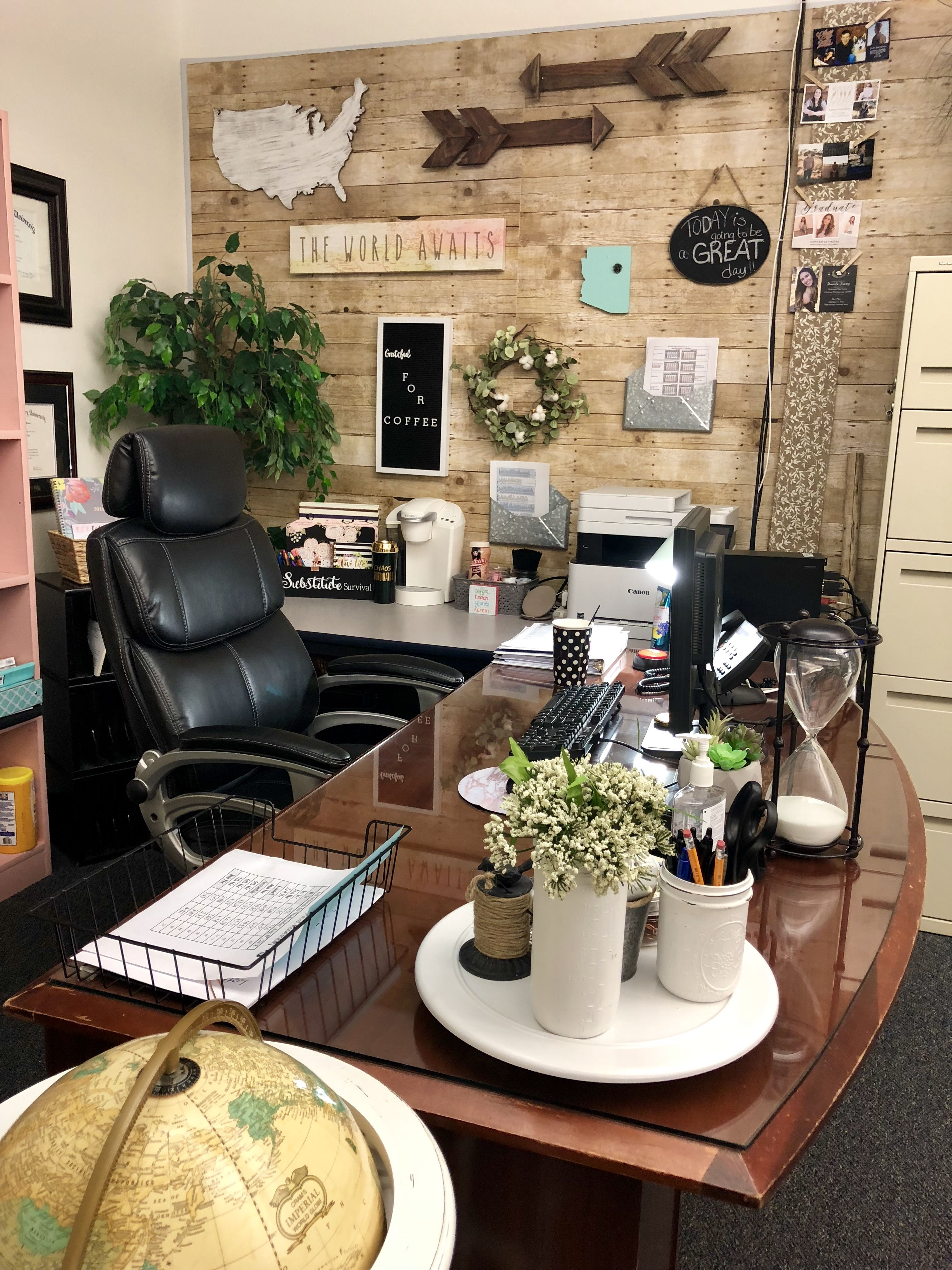 My Desk Area In My Classroom Farmhouse Classroom Decor Teacher Desk Organization Classroom Decor Classroom Desk