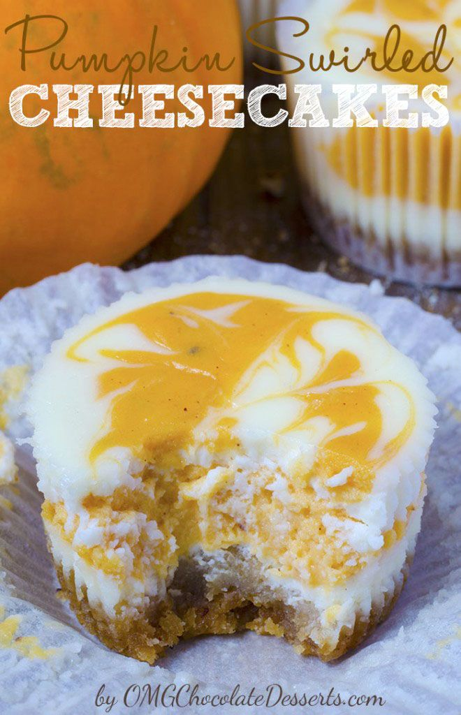 Mini Pumpkin Swirled Cheesecakes
