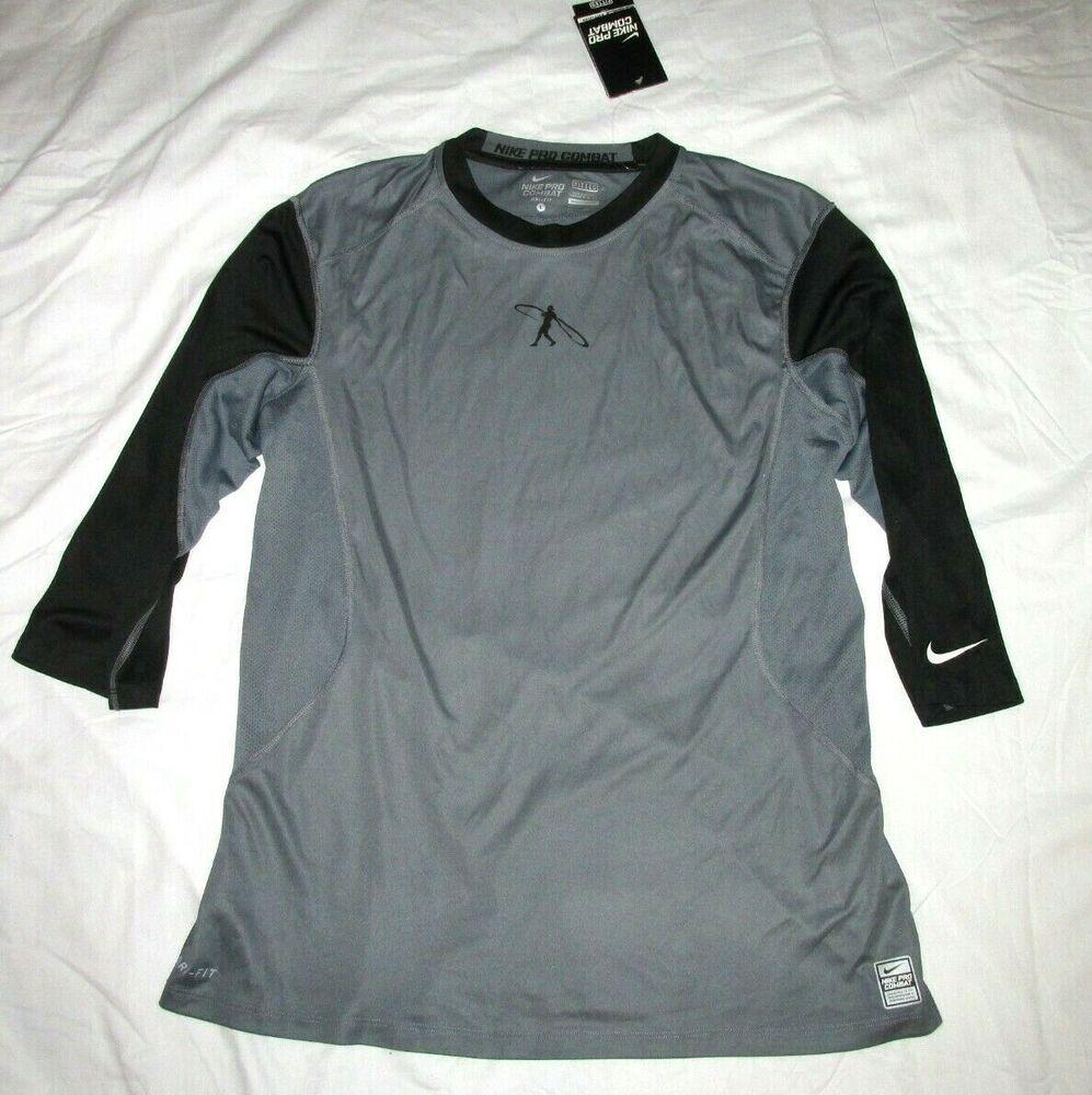 Nike Pro Combat Dri Fit Swingman 3 4 Sleeve Fitted Baseball Shirt Mens L Black Nike Activewearsho Mens Baseball Shirts Nike Pro Combat Long Sleeve Tshirt Men [ 1000 x 997 Pixel ]