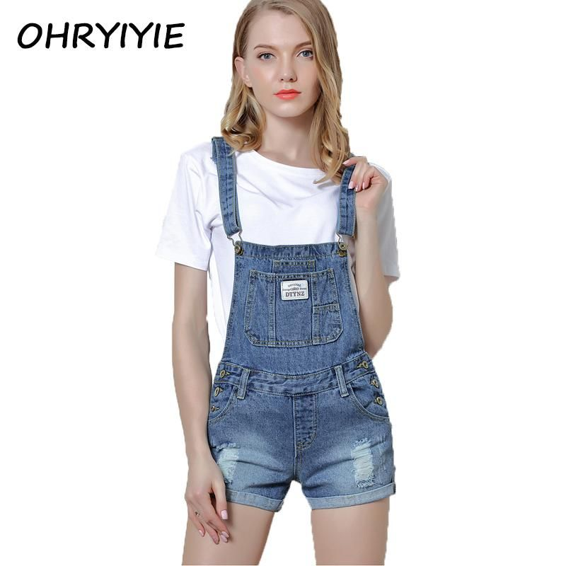 Denim Fabric Destroy Wash Rompers Summer Overalls Women Playsuits Suspenders Shorts Jeans Women Overalls Summer Rompers Hole Women's Clothing