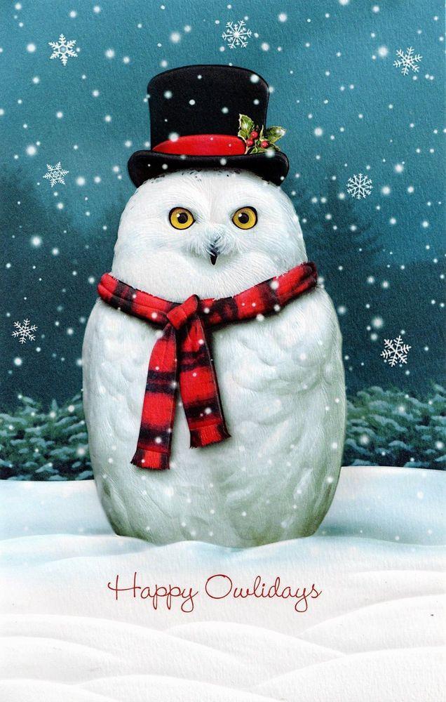 """Happy Owlidays"" by Alan Giana Owl christmas card"