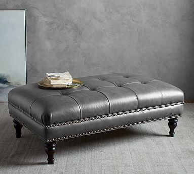 Martin Tufted Leather Ottoman, Brown