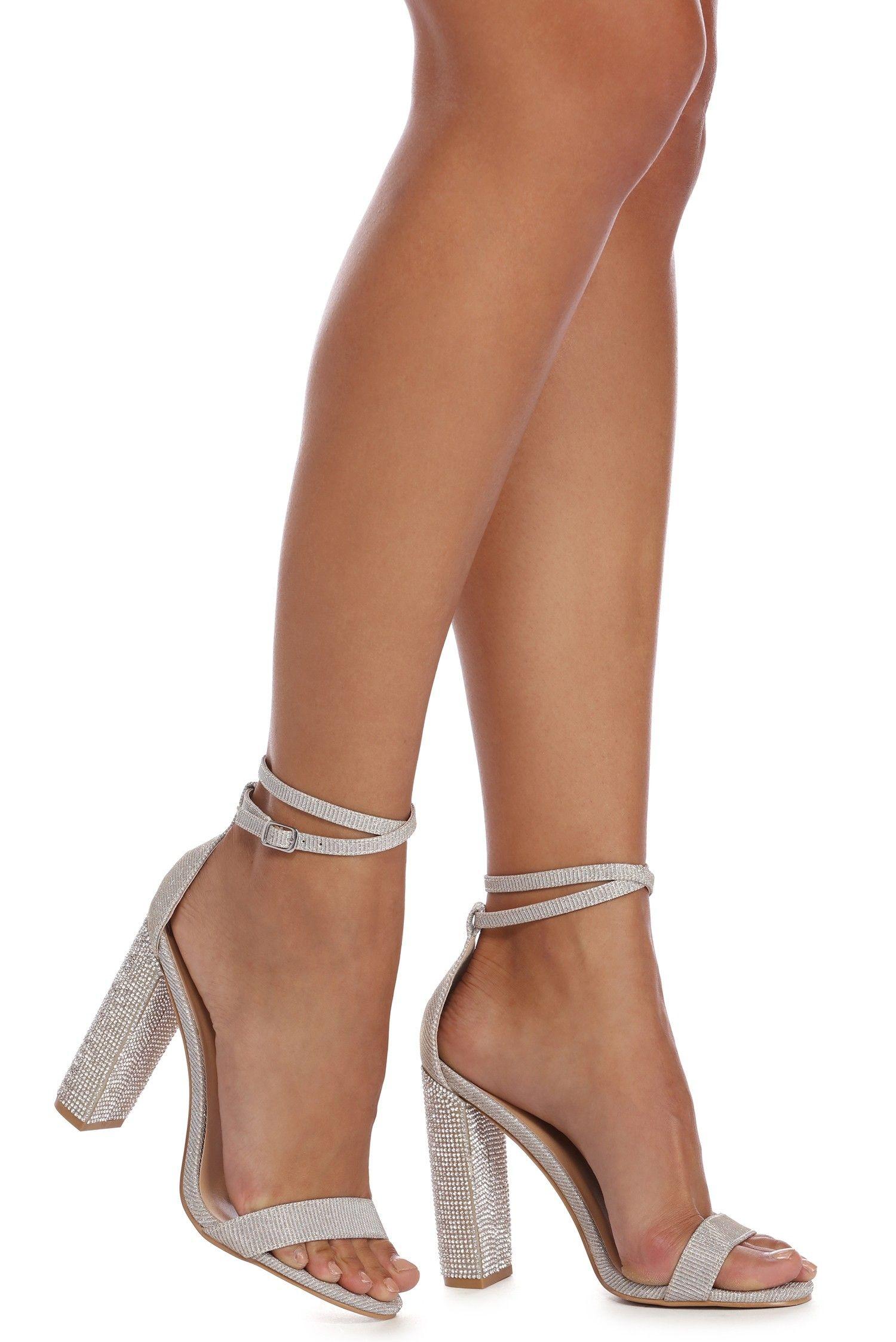 ab519e4708f Silver Glitter Glam Rhinestone Social Heels