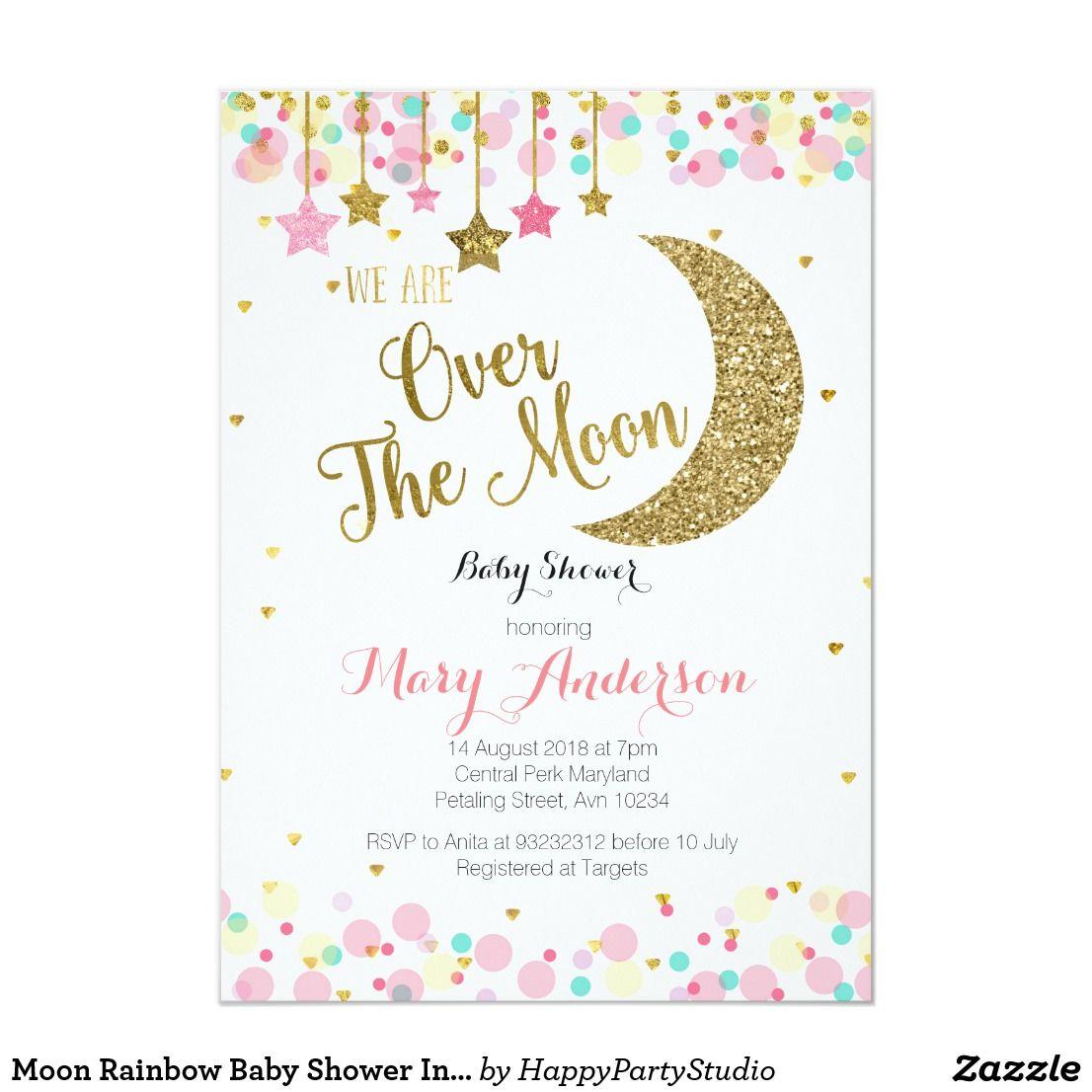 Moon Rainbow Baby Shower Invitation