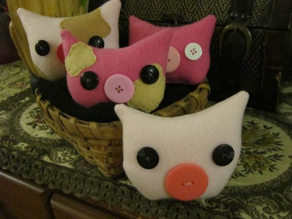 Pig Plush Fleece Decoration Ready to Ship Snuggly by MeekaMew $6.50