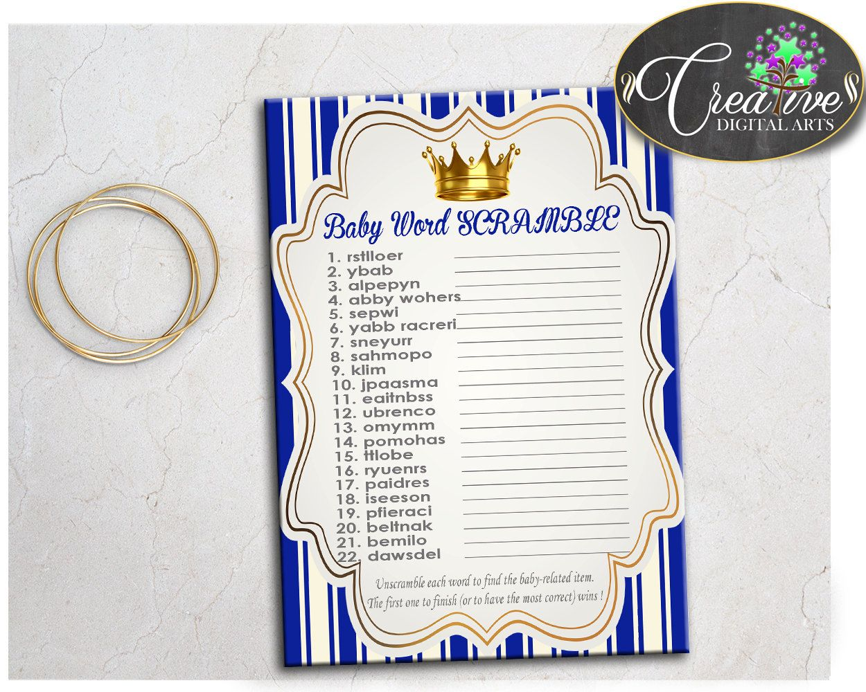 Boy Baby Shower Word Scramble Game Printable Cute Royal