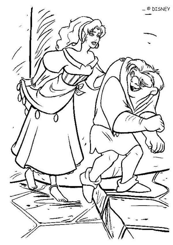 The Hunchback of Notre Dame coloring book pages - Quasimodo and Esmeralda 2