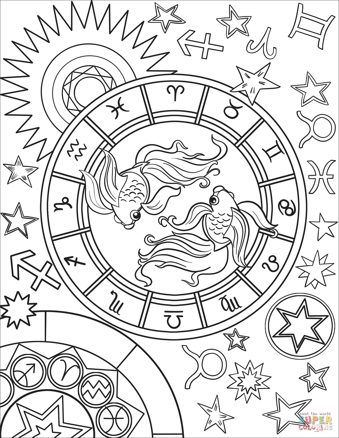 Pisces Zodiac Sign Super Coloring Witch Coloring Pages Zodiac Signs Colors Coloring Pages [ 1500 x 1159 Pixel ]