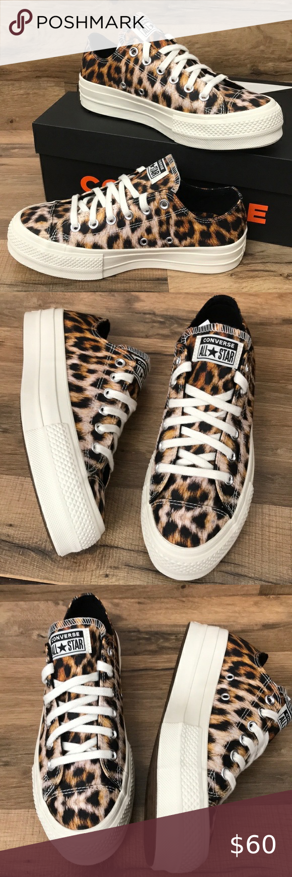 CONVERSE PLATFORM BRAND NEW Brand new in the box no lid platform converse animal print Converse Shoes Athletic Shoes