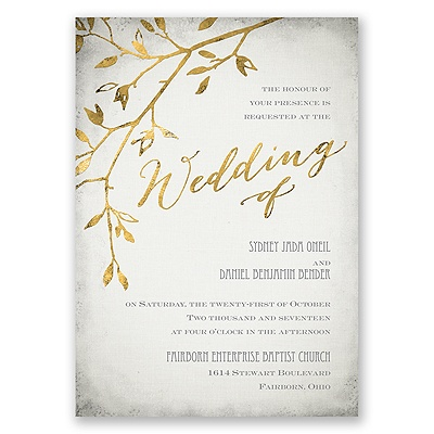 A Gorgeous Design With Subtle Beauty This Grey Wedding Invitation S Gold Branch And Wording Are Given Unique Faux Foil Effect