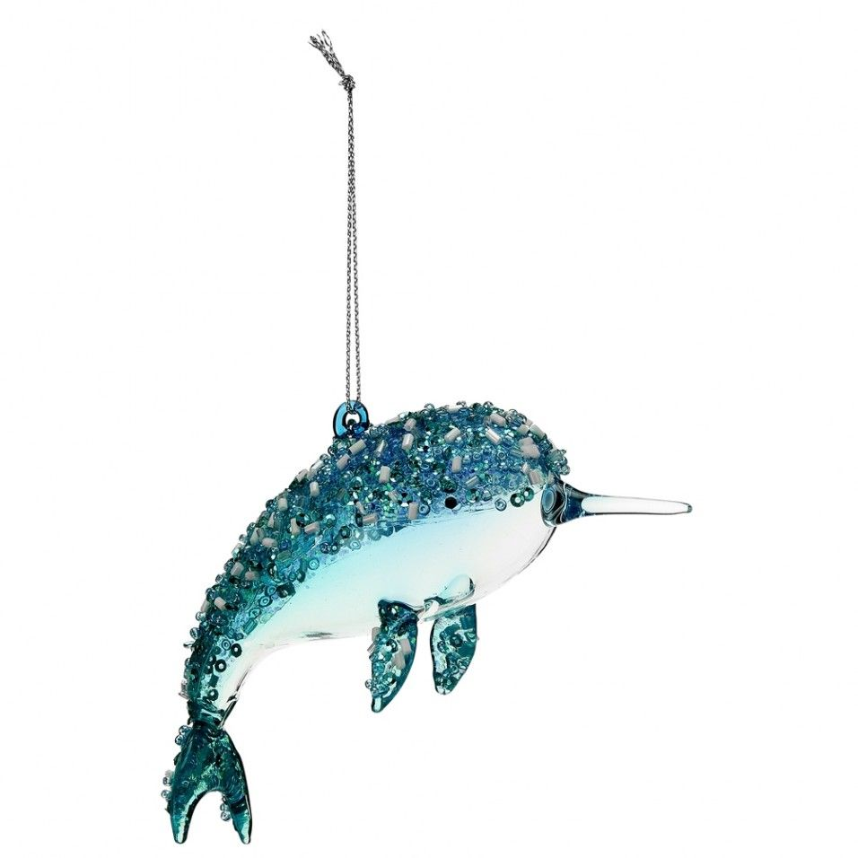 narwhal glass christmas hanging decoration
