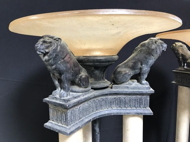 Pair Of Torchiere Floor Lamps With Figural Lion Tops By Cambridge Lamps Inc Please Note There Is Damage To One Torchiere Floor Lamp Lion Sculpture Floor Lamp