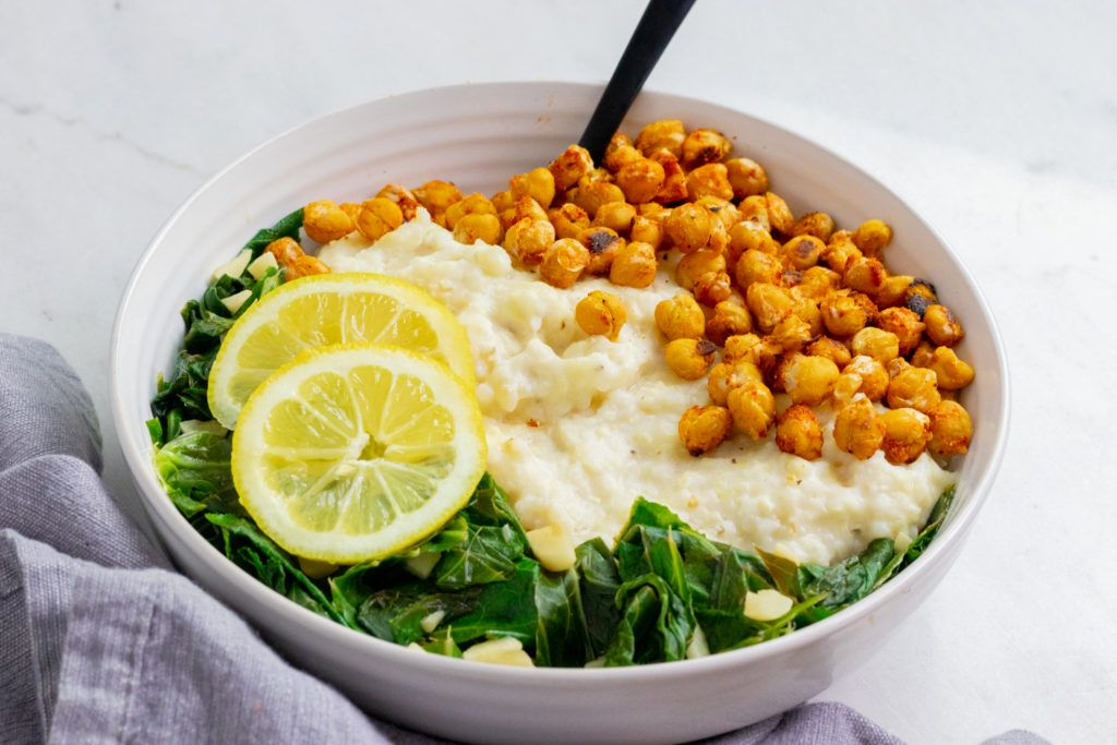 Vegan Cheesy Grits Breakfast Bowl With Crispy Chickpeas Recipe In 2020 Crispy Chickpeas Breakfast Bowls Chickpea