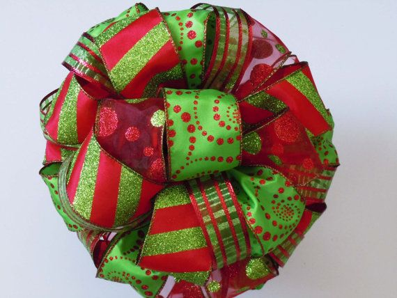 Red Green Christmas Tree Bow Topper Handmade w/ by greentraderllc, $54.95 WOW beautiful
