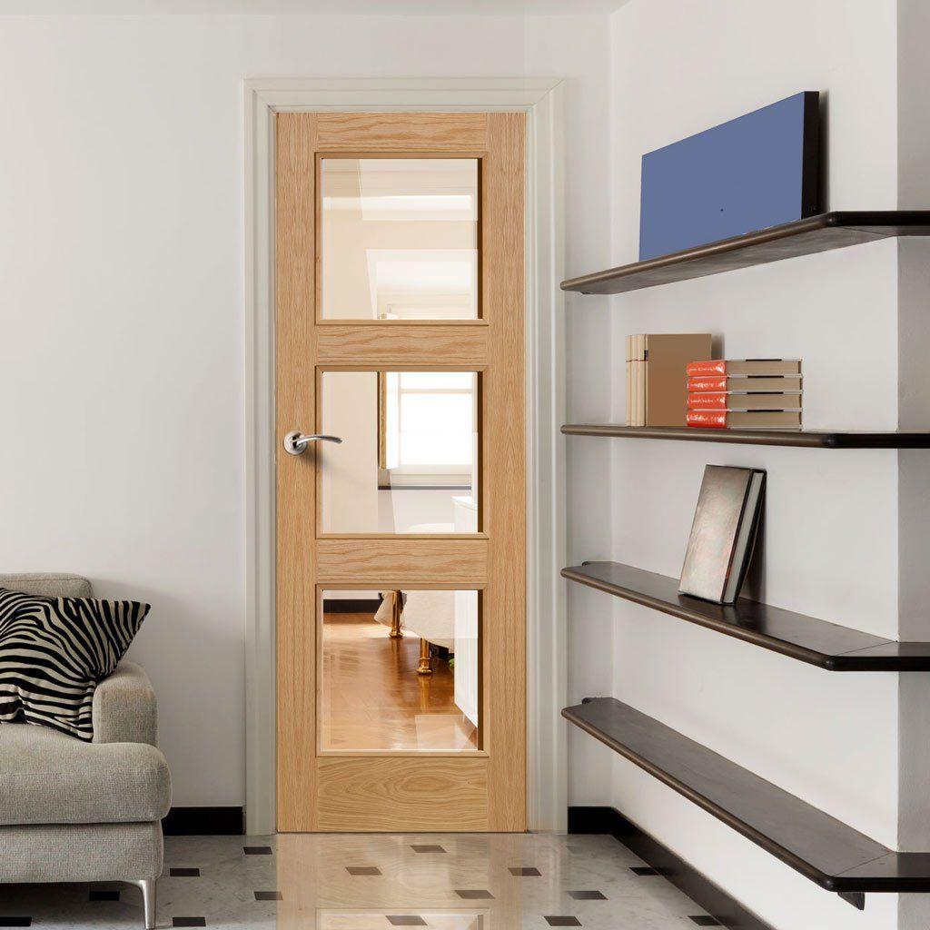 Door Set Kit Brienz Oak 3 Pane Door Clear Safe Glass
