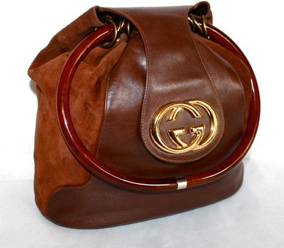 b5ec1d41f Vintage GUCCI Hobo Slouchy Brown Suede Leather Large Medallion Tortoise  Handle Tote -AUTHENTIC-
