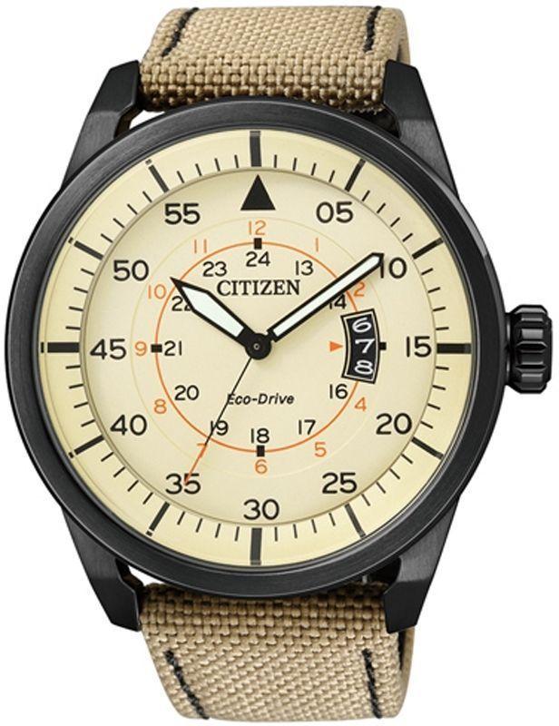 352cde4f73ab5 Citizen Eco-Drive Aviator Black Ip Cream Dial 100M Sports Nylon Watch  Aw1365-19P