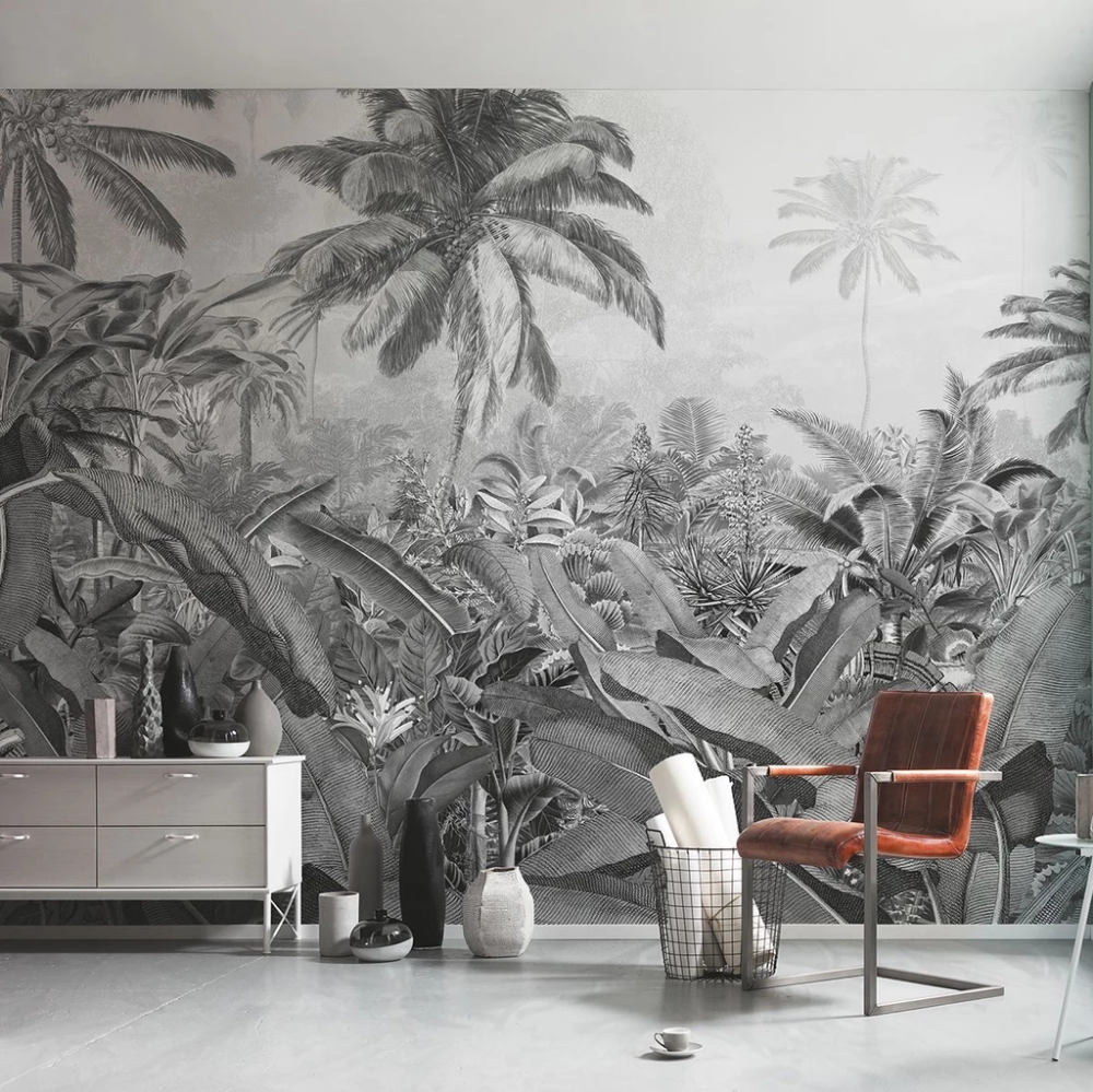 Jungle wallpaper in black and white mural. Nonwoven wall