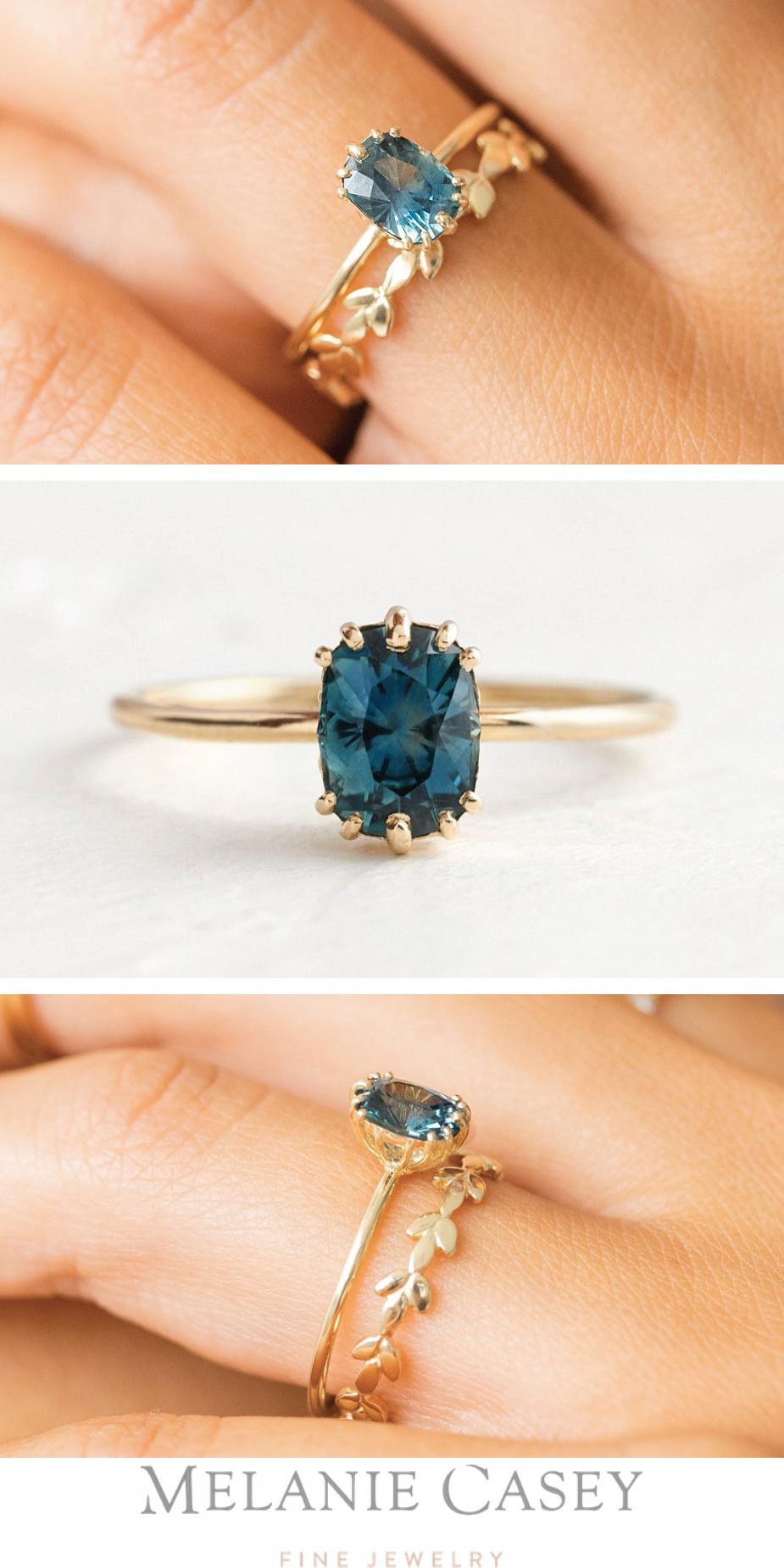 3.5ct natural aquamarine engagement ring 14k rose gold diamond wedding band anniversary ring HALO diamond bridal ring 9mm cushion Aquamarine - Fine Jewelry Ideas #aquamarineengagementring