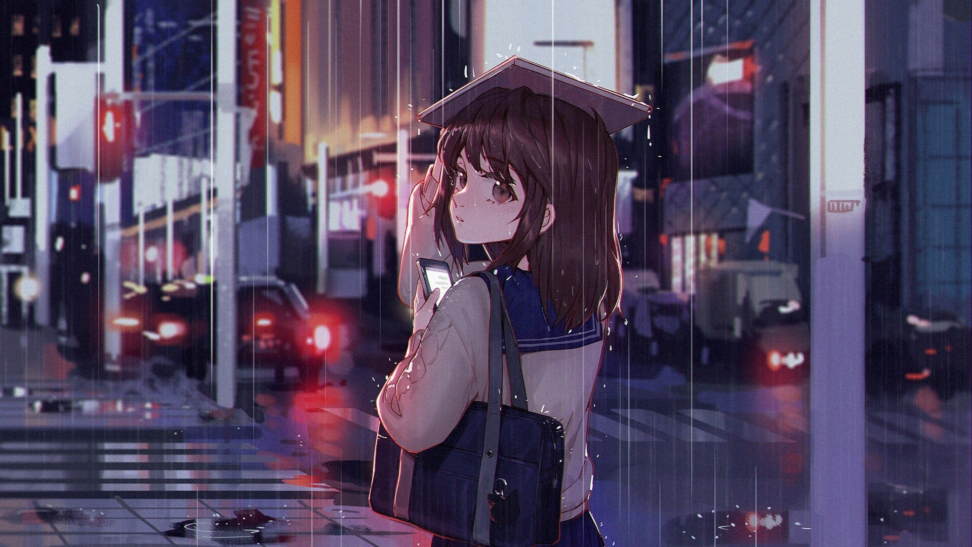Anime Original Short Hair Brown Hair Brown Eyes Bag Rain Book