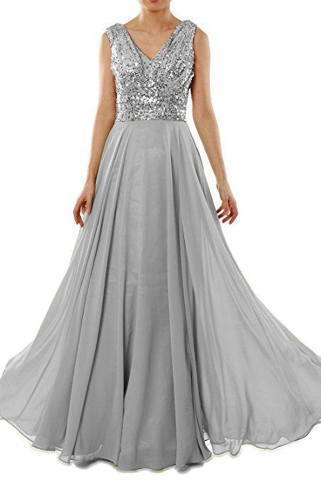 MACloth Women V Neck Sequin Chiffon Long Bridesmaid Dress Formal ...