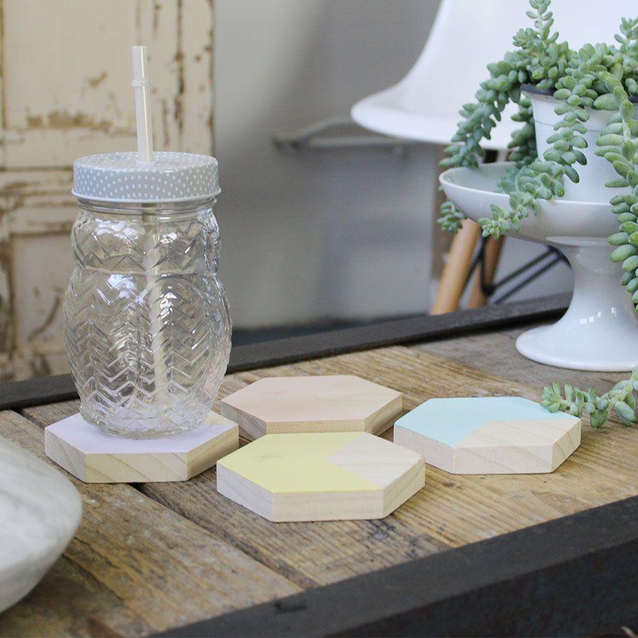 dessous de verre scandinave souhait touche de pastel et bois brut set - Set De Table Scandinave