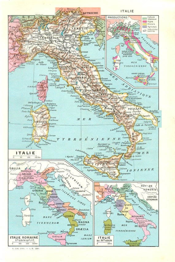1948 World Map.Antique Map Of Italy From 1948 Small Italy Map Print Italy Gift