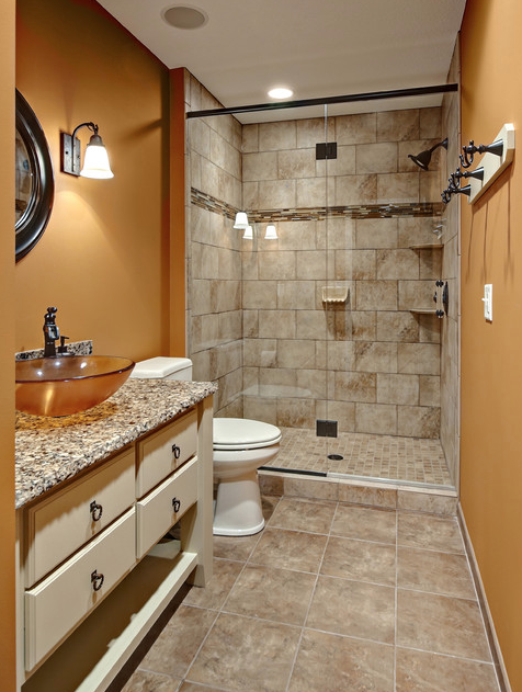 Looking For An Earthy Orange To Complement Natural Stone Tiles In A Bathroom?  Try Brandywine