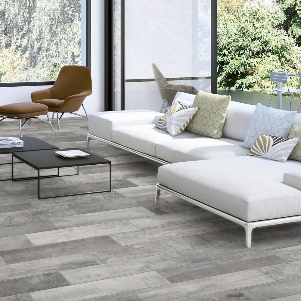 Florida Tile Home Collection Wind River Grey 6 in. x 24 in