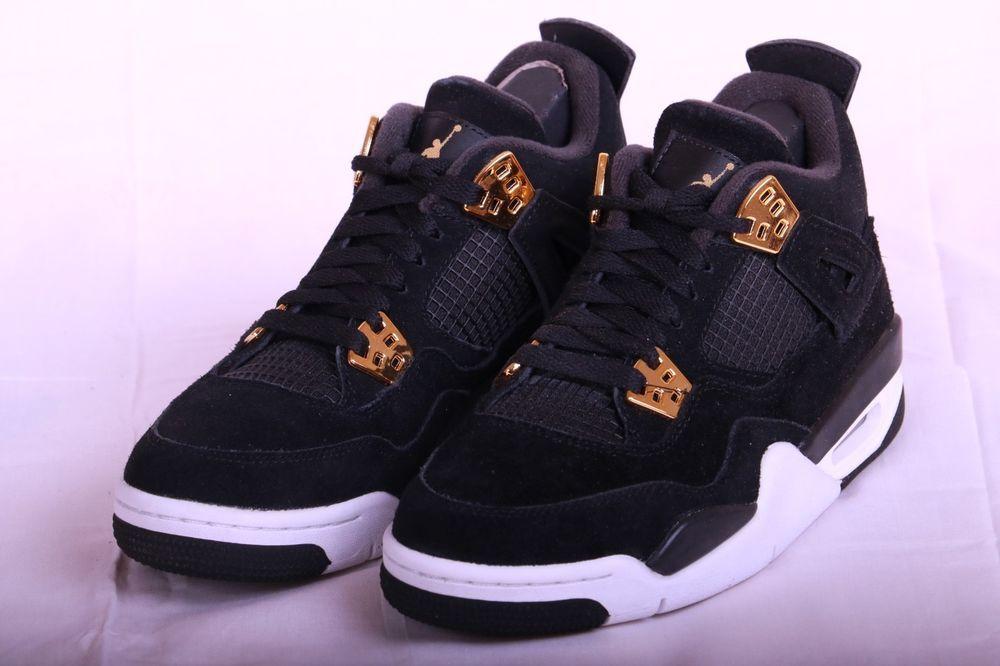 Nike Air Jordan 4 Retro BG Royalty Black Metallic Gold 408452 032 Kids Size  4.5 83c039bfe