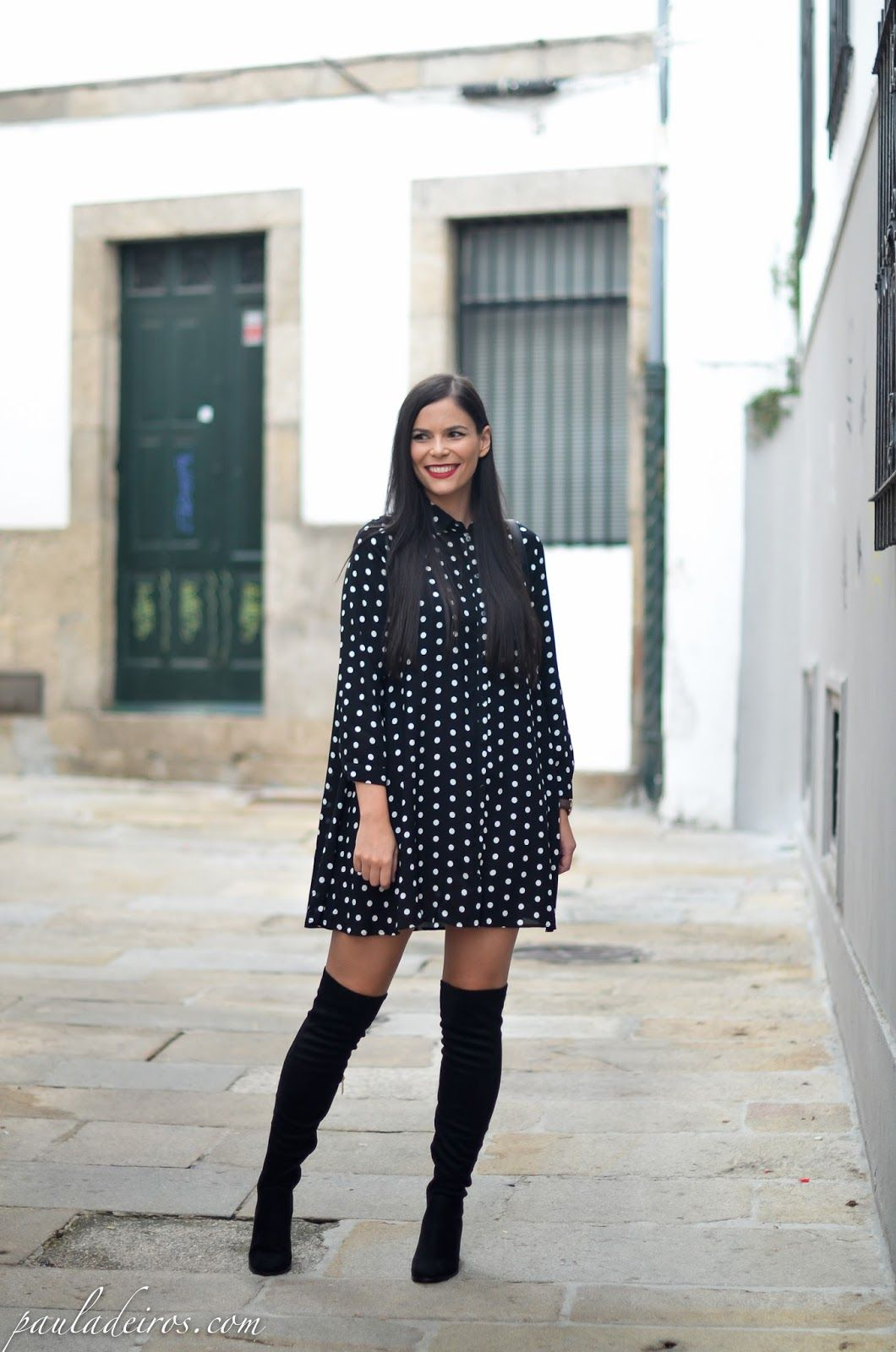 e9fbd7ec42ce PAULA DEIROS SECRETS  Polka dot Dress   Over Knee Boots