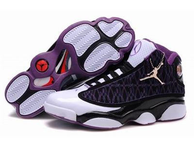 36dcf01aeda6f6 Air Jordan 13+23 Fusion Embroidery Shoes Black White Purple ...