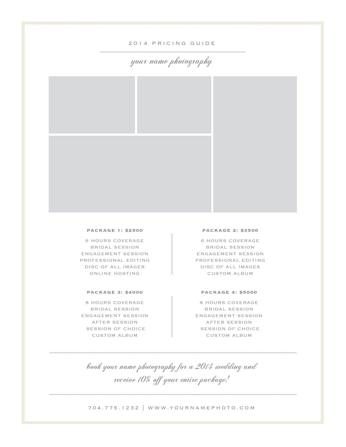 Photography Price List Template By Bittersweetdesignboutique On