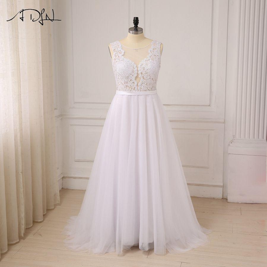 White ivory scoop tulle appliques beach boho wedding dress unique