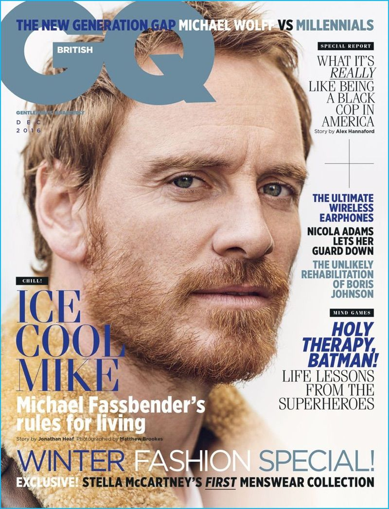 95b6752eb3004 Michael Fassbender covers the December 2016 issue of British GQ.